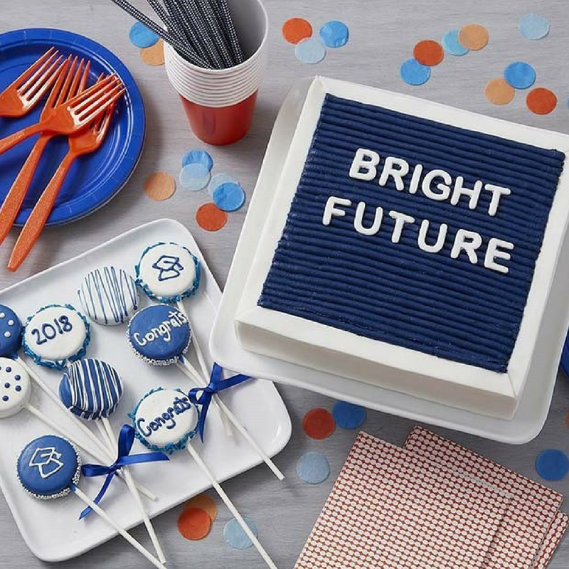 Graduation Bright Future Cake in Blue and White with Cake Pops