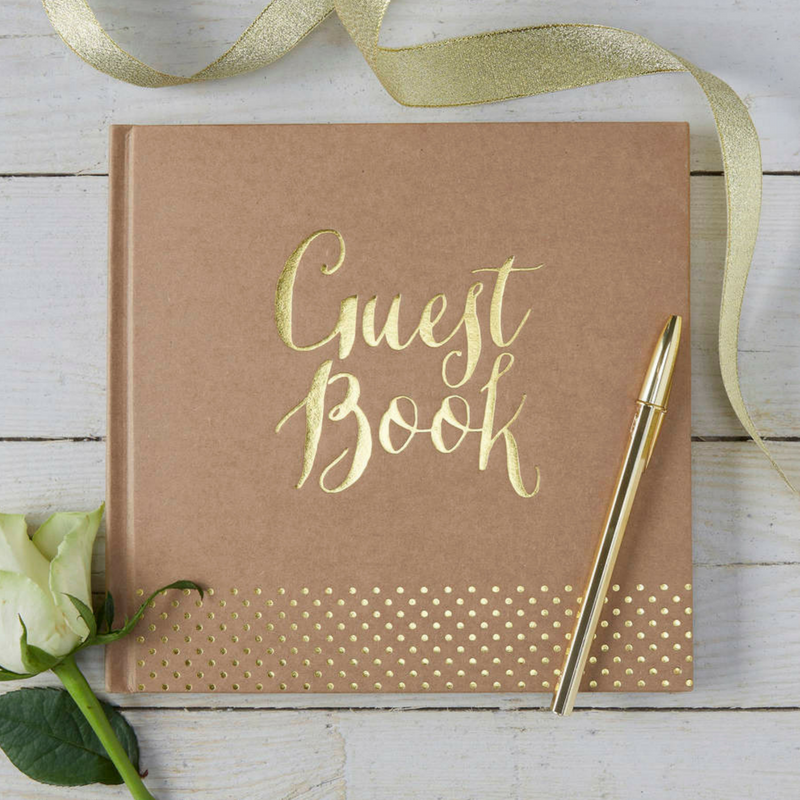 Graduation Beige and Gold Guest Book
