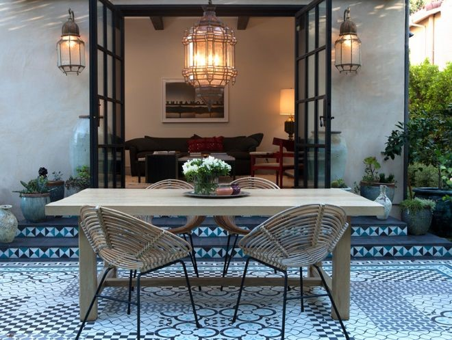 Moroccan Interiors Outdoor Styled Patio with a fun flooring pattern
