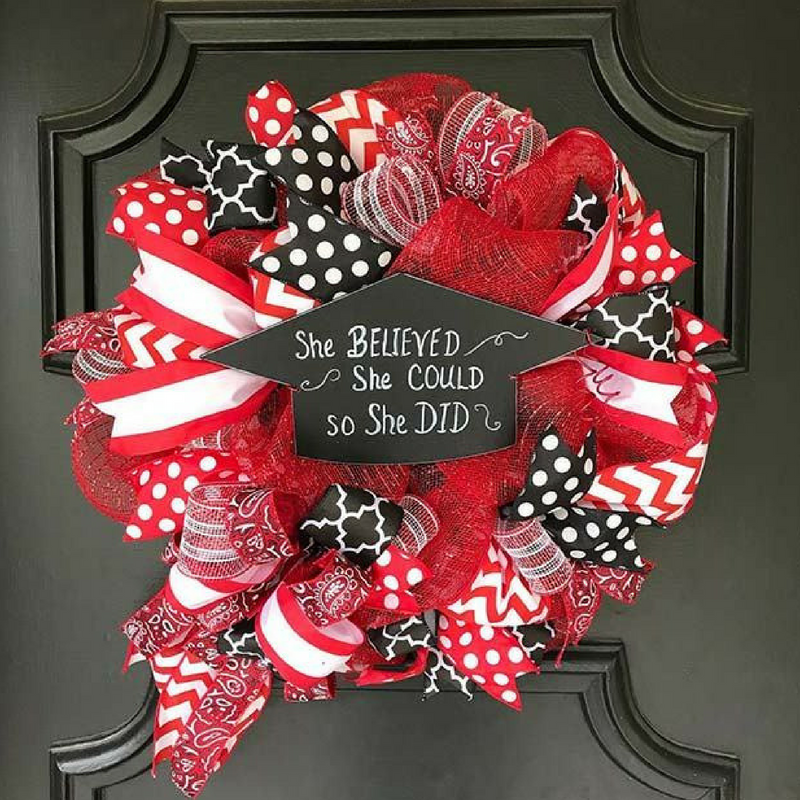 Graduation Black and Red Door Wreath with a Quote