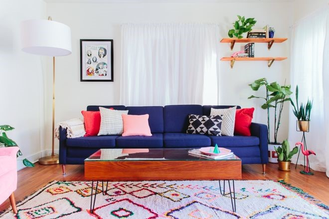 Moroccan Interiors With a Large Colourful Rug in a Colourful Room