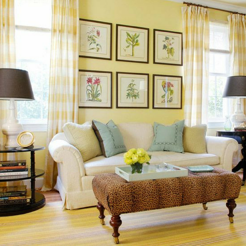 Yellow Accessories Pale Yellow Wall Coloured Living Room