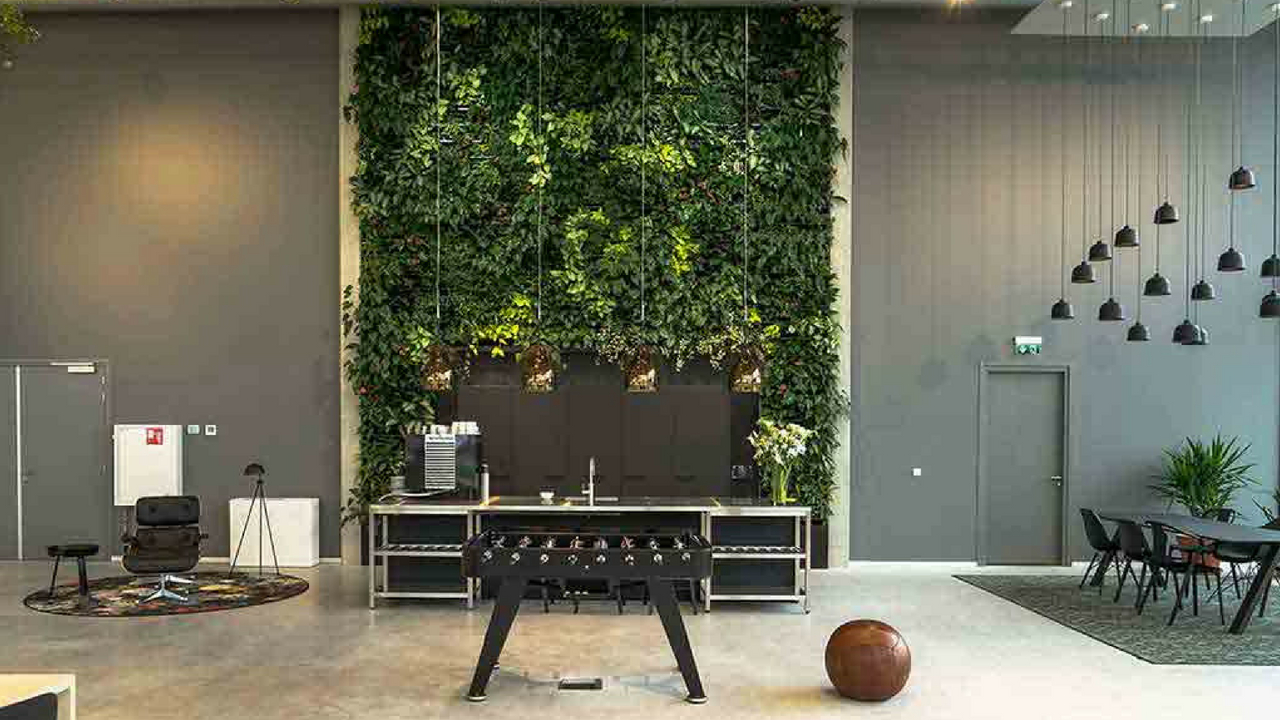 Interior Design Trends modern botanical wall in a large room