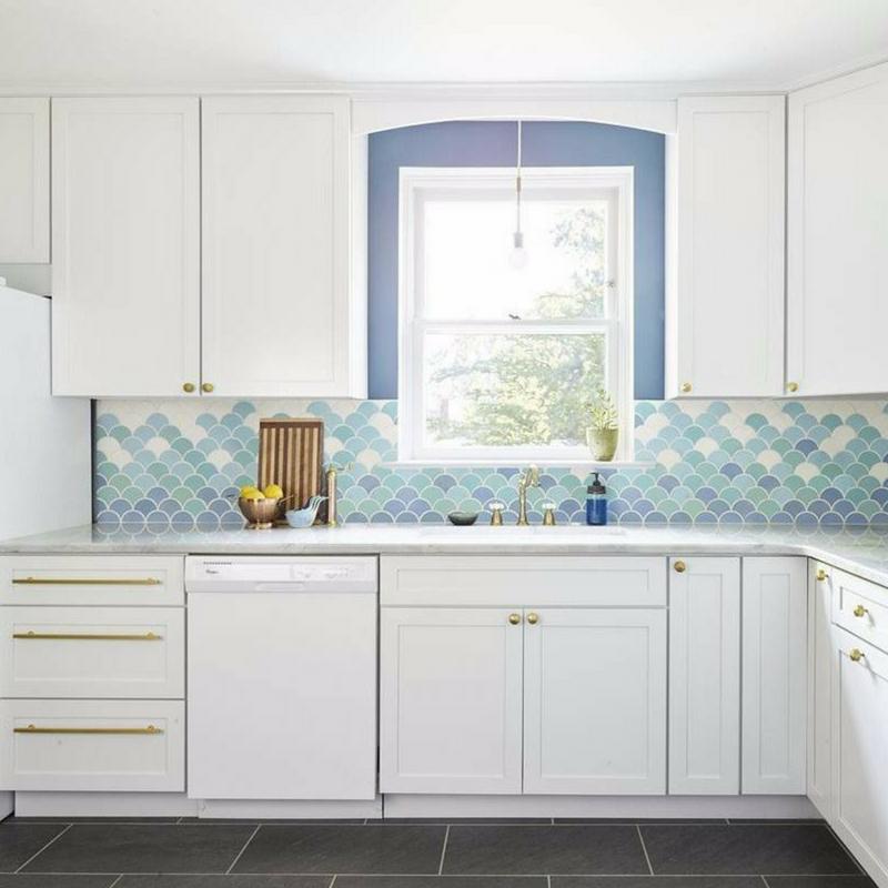 Interior Design Trends mermaid tiles in a bright kitchen