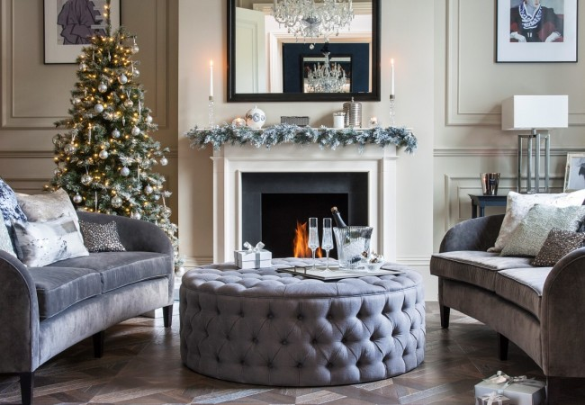Christmas Tree Decorations in a classic living room setting