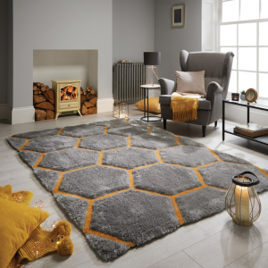 Valentine's Day   Honeycomb Rugs in Ochre by The Rug Seller