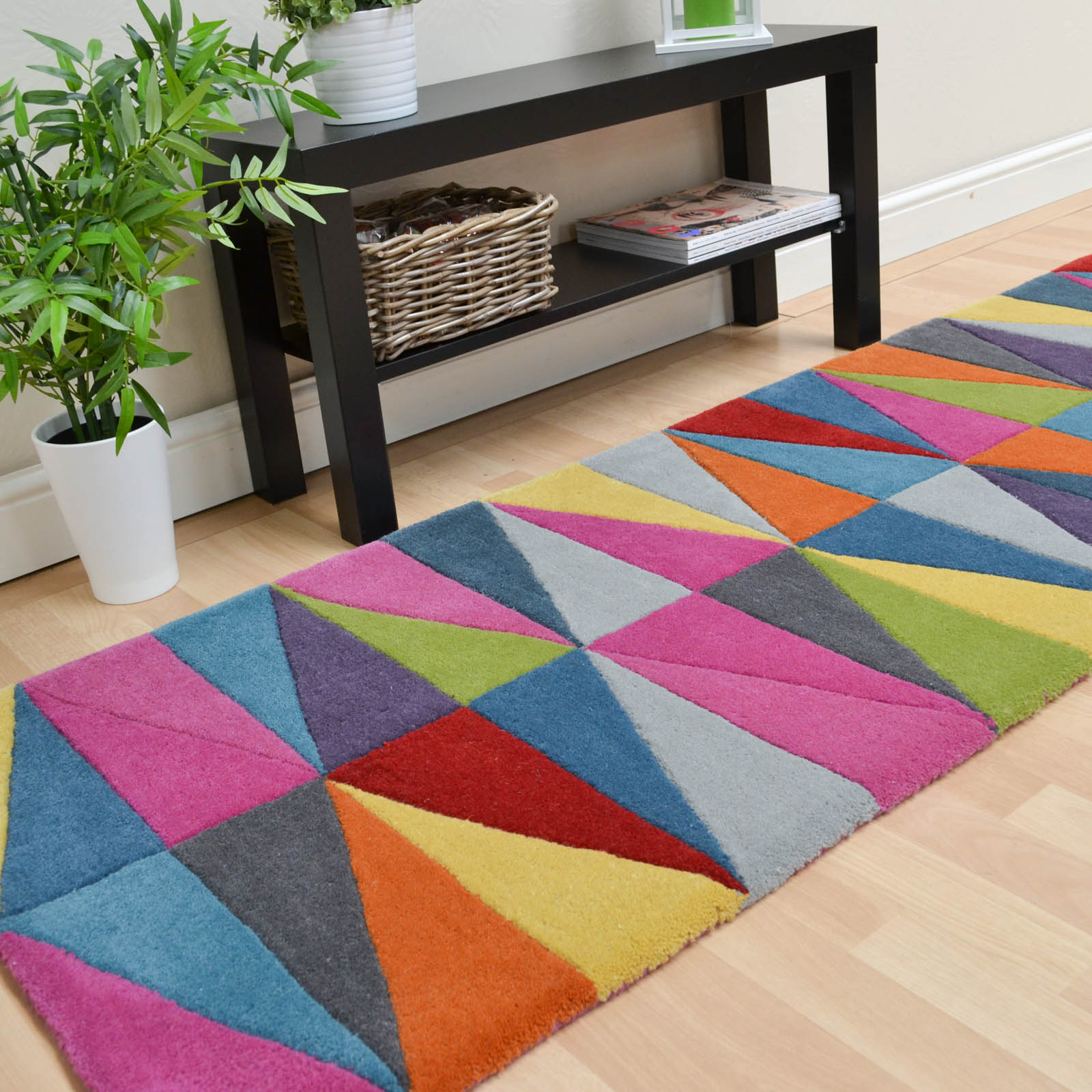 Washable Hall Rugs: Funk Hallway Runners, Multi Coloured, Natural, Wool, Buy