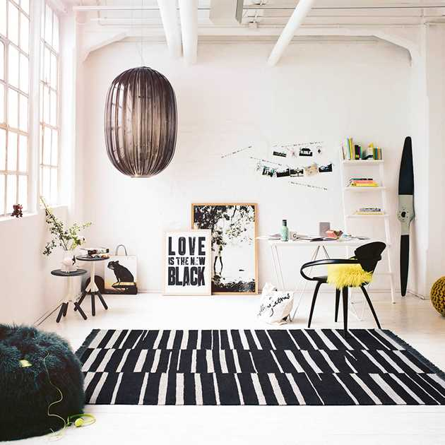 Skid Marks Rugs 0009 01 by Carpets & Co in Black and White