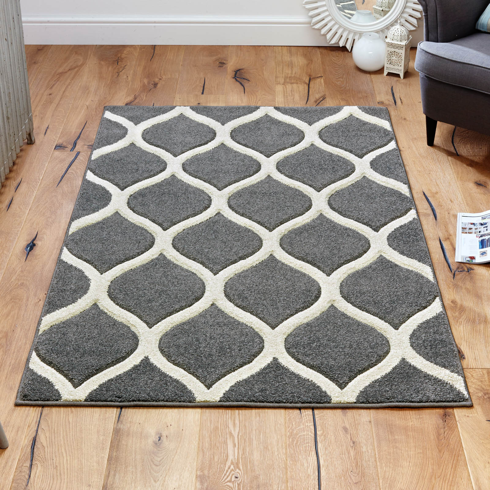 Viva Rugs 1095 E in Grey and Ivory