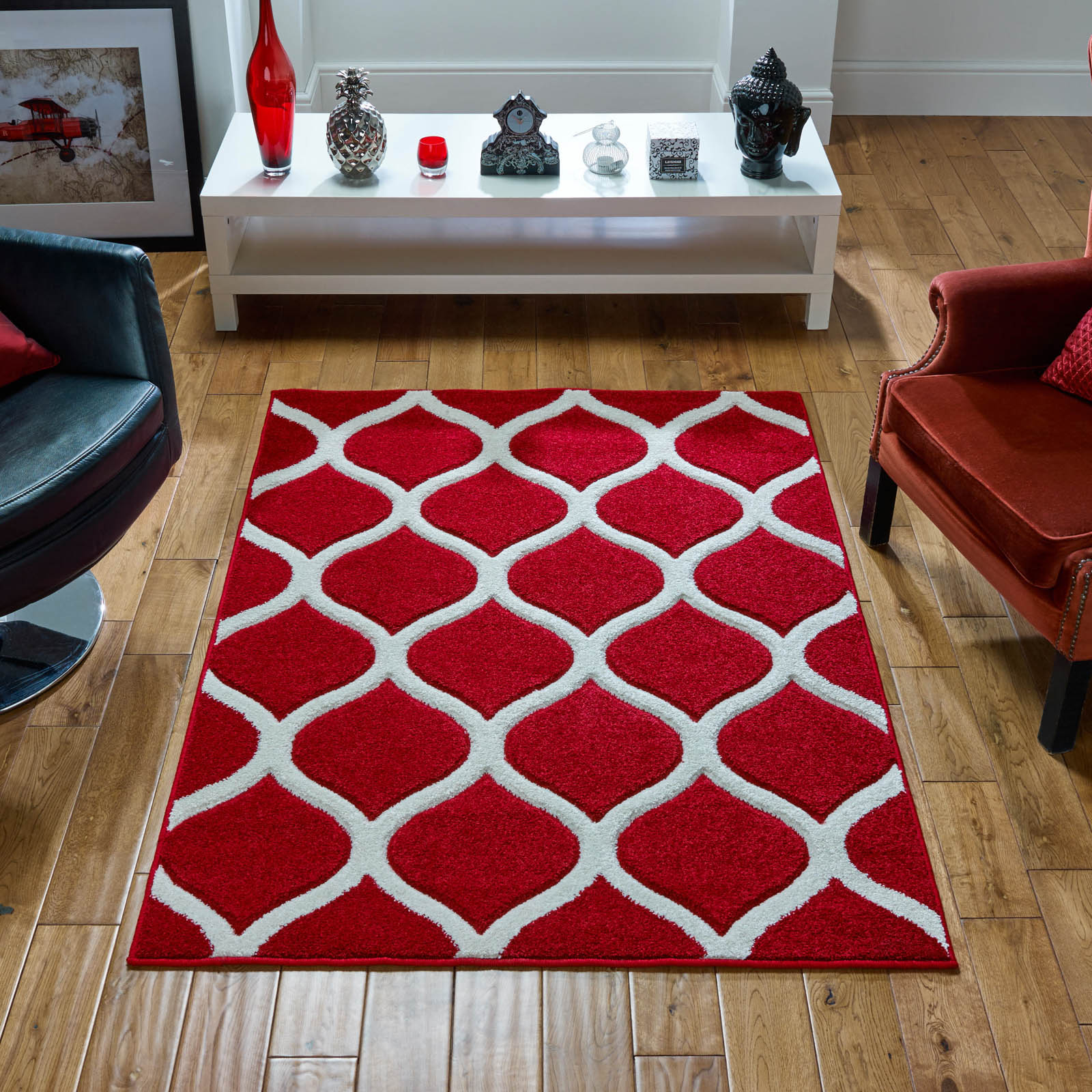 Viva Rugs 1095 R in Red and Ivory