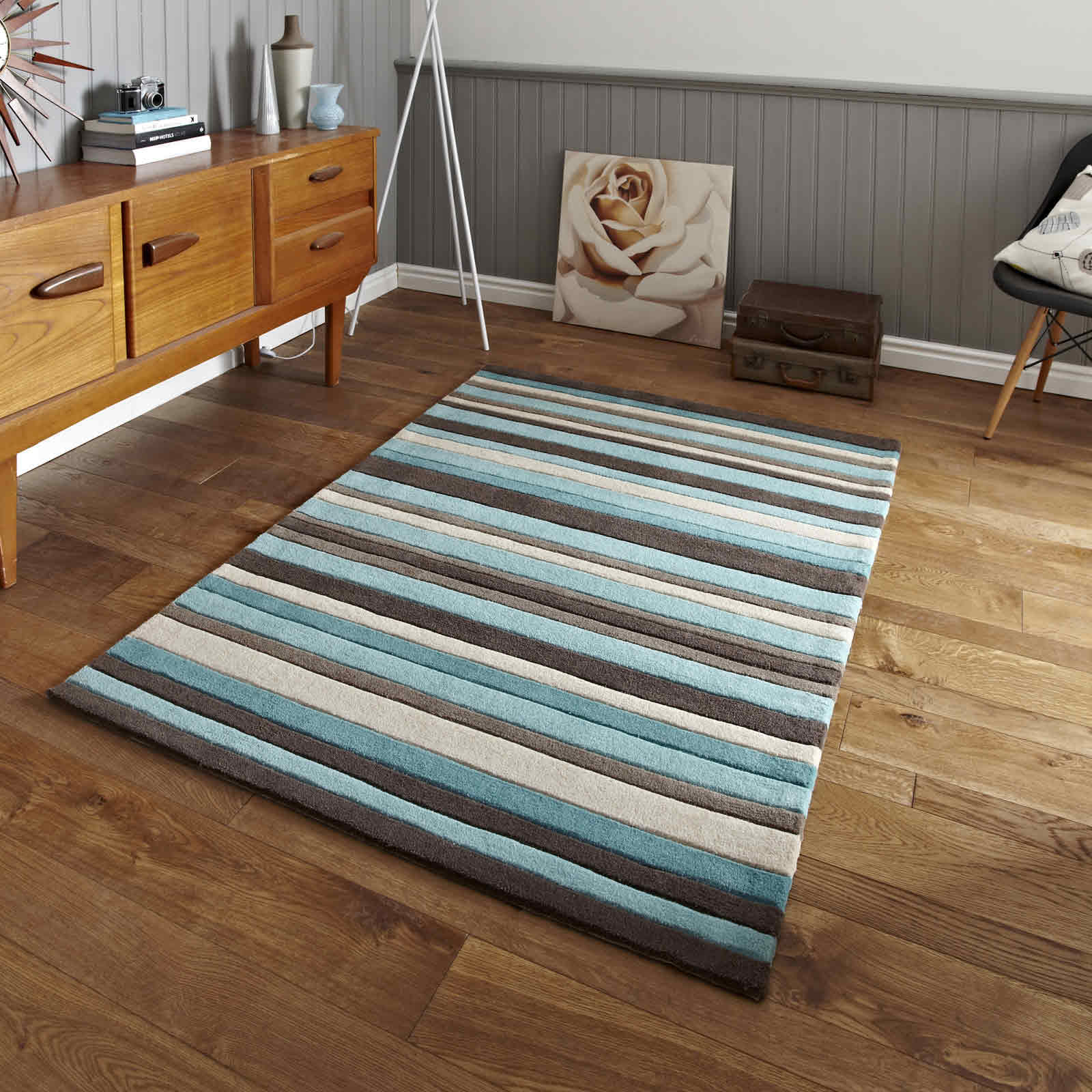 Hong Kong Rugs 2022 Blue Brown Stripes Free UK Delivery The