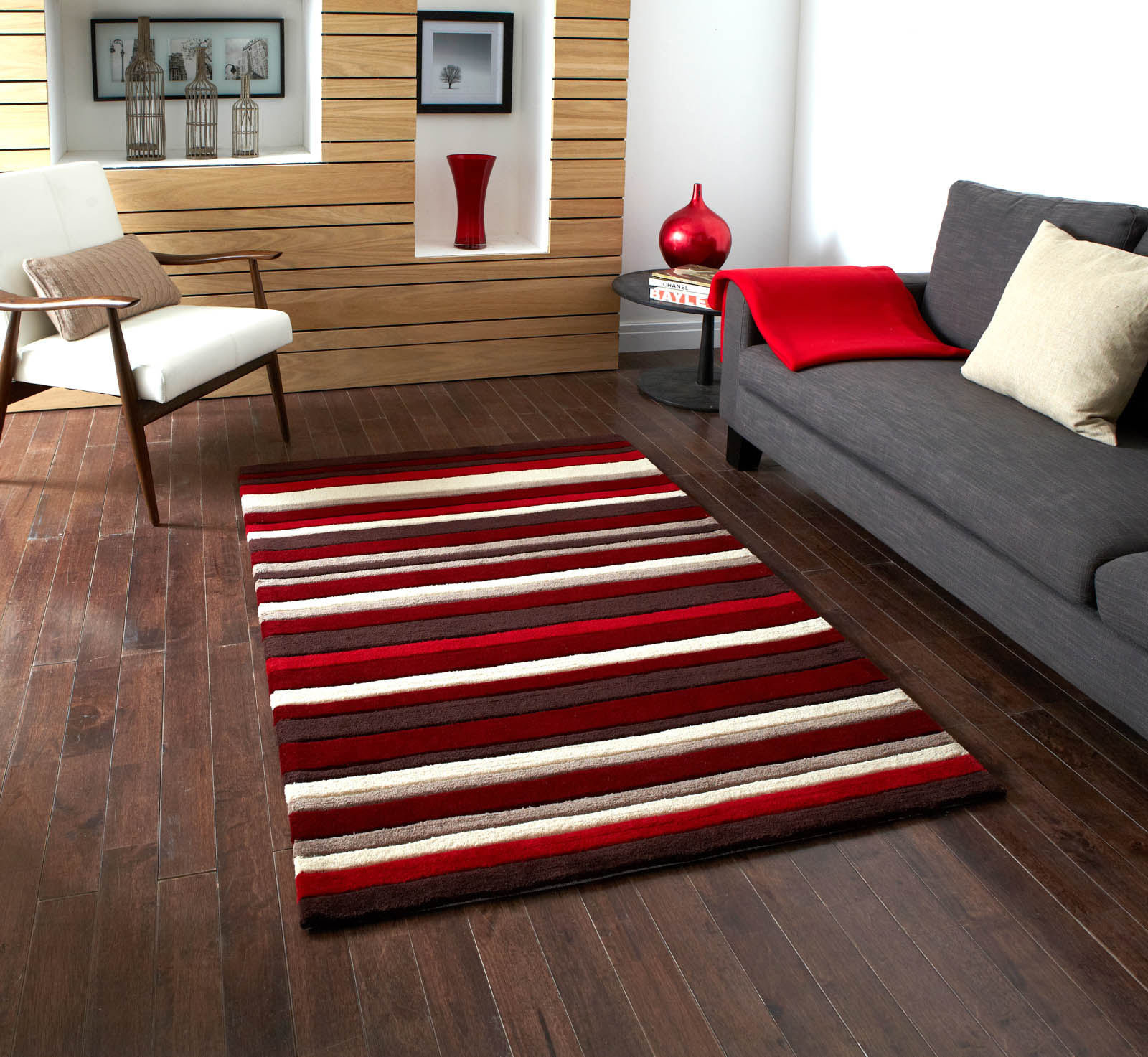 Hong Kong Rugs 2022 Red Brown Stripes
