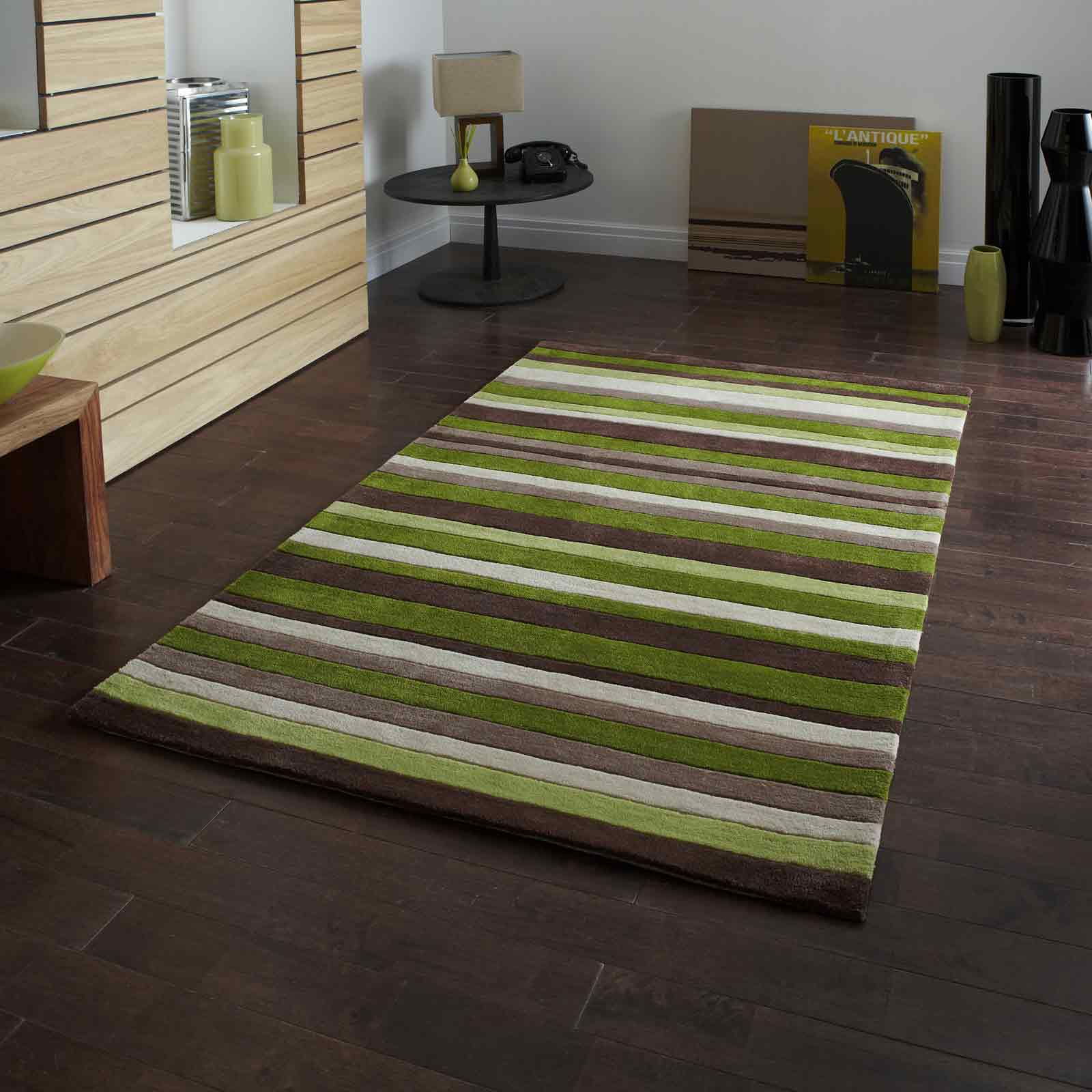 Hong Kong Rugs 2022 Green Brown Stripes