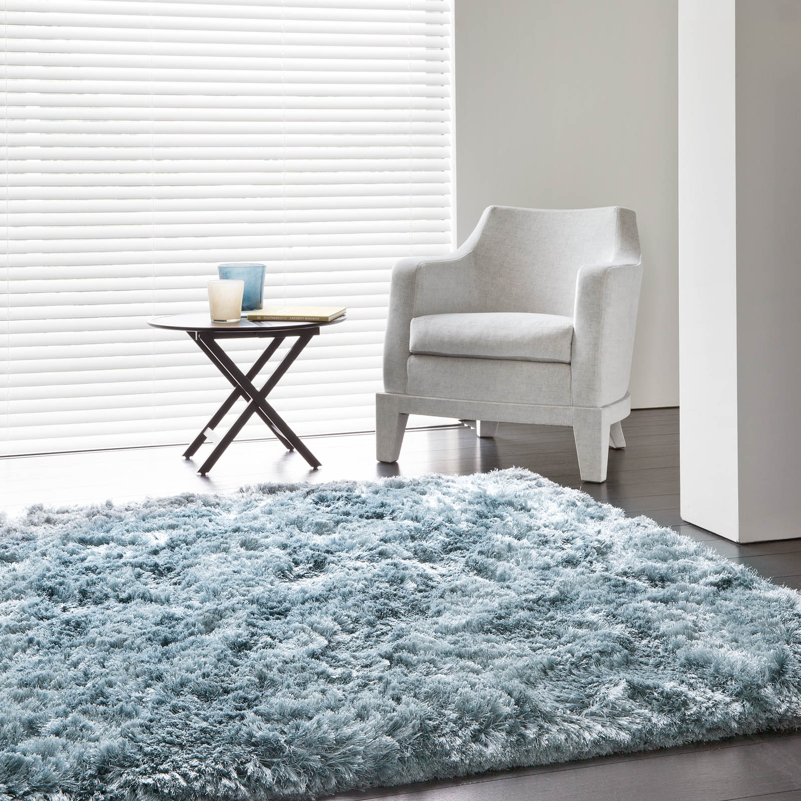 Uni Adore Shaggy Rugs 207 001 500 in Blue by Ligne Pure
