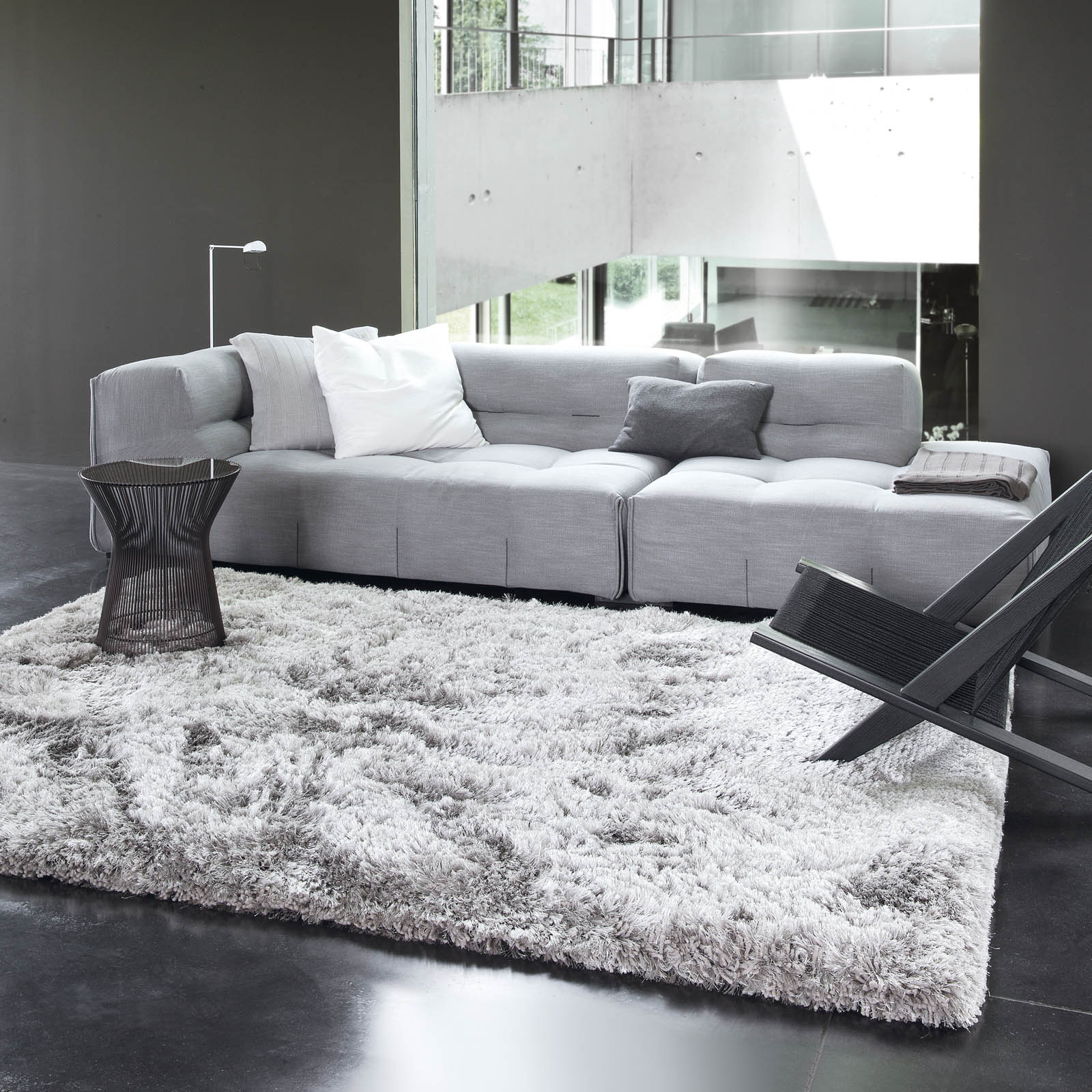 Uni Adore Shaggy Rugs 207 001 920 in Silver by Ligne PurePure