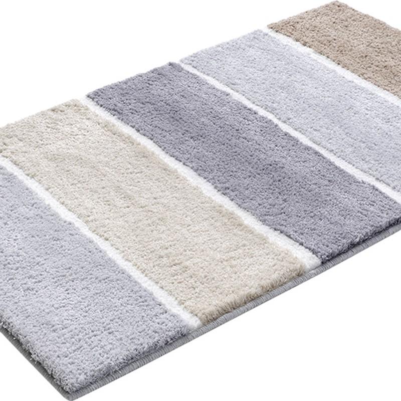 Block Stripe Bath Mats 2372 03 In Grey Brown And Beige