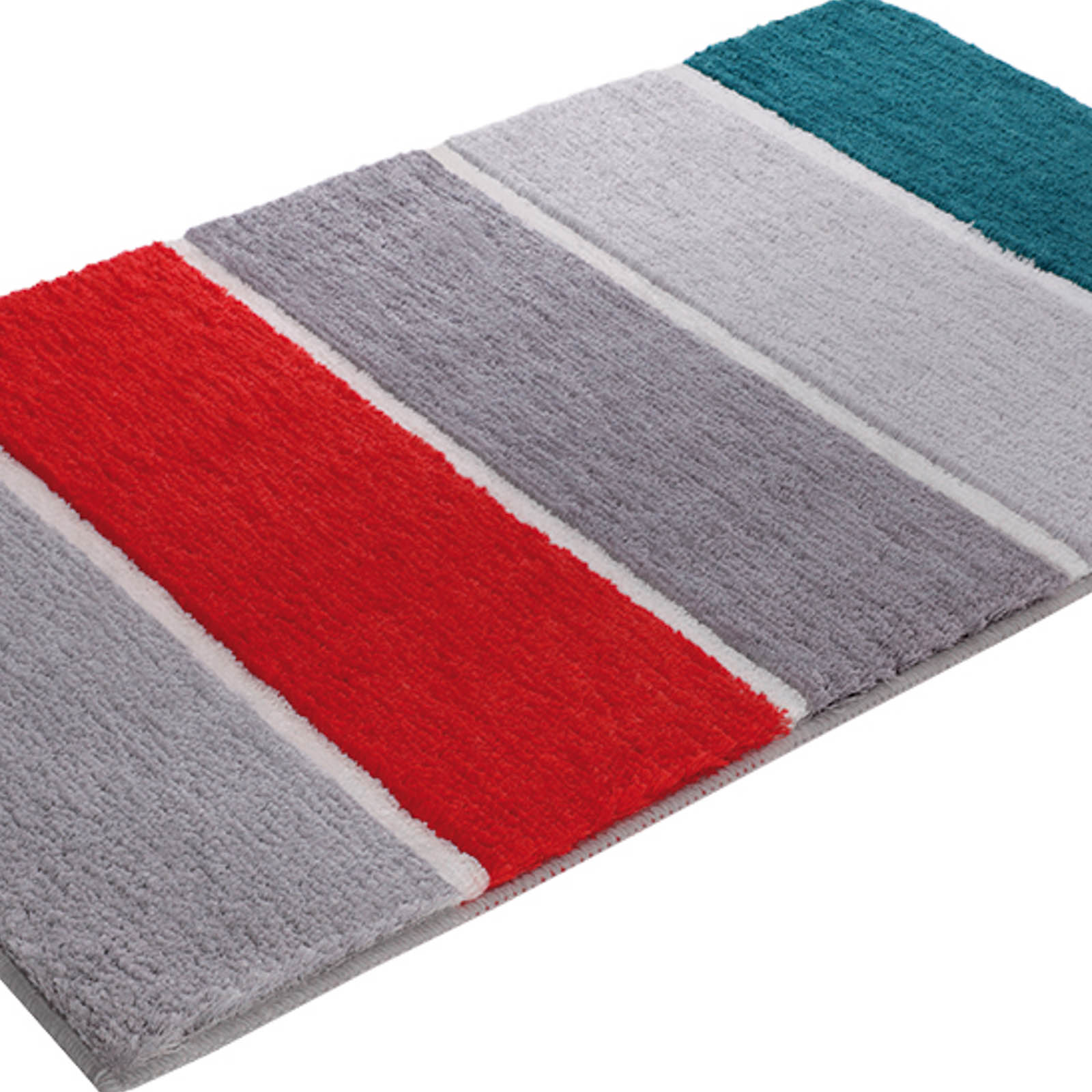 Block Stripe Bath Mats 2372 04 in Grey, Orange and Turquoise
