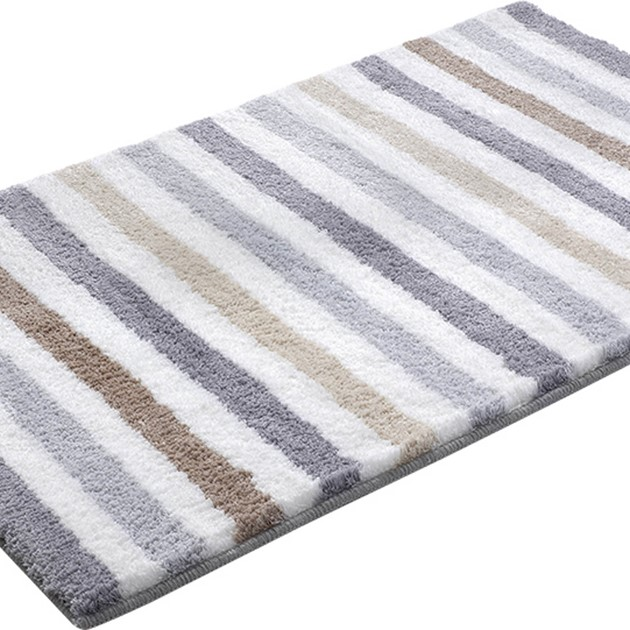 Line Stripe Bath Mats 2373 05 In Grey Brown And Beige