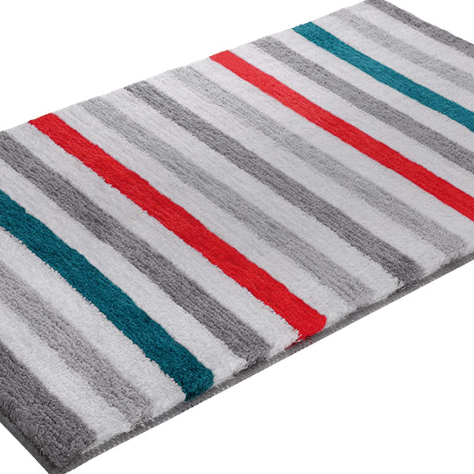 Line Stripe Bath Mats 2373 06 in Grey, Orange and Turquoise
