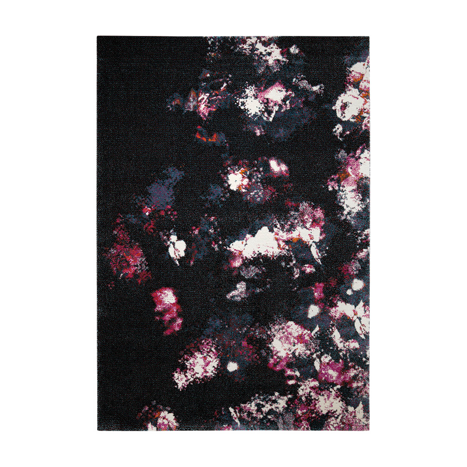 Nocturnal Flowers Rugs 2657 090 in Black and Pink by Esprit