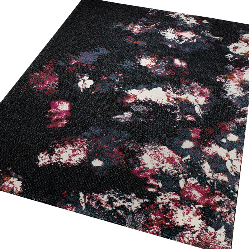 Nocturnal Flowers Rugs 2657 090 In Black And Pink By