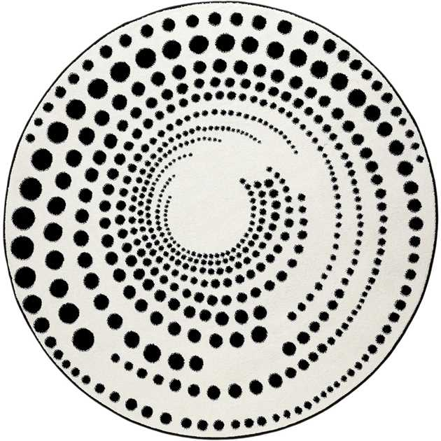 Eddy Circular Rugs 3249 690 by Esprit in Black and Ivory