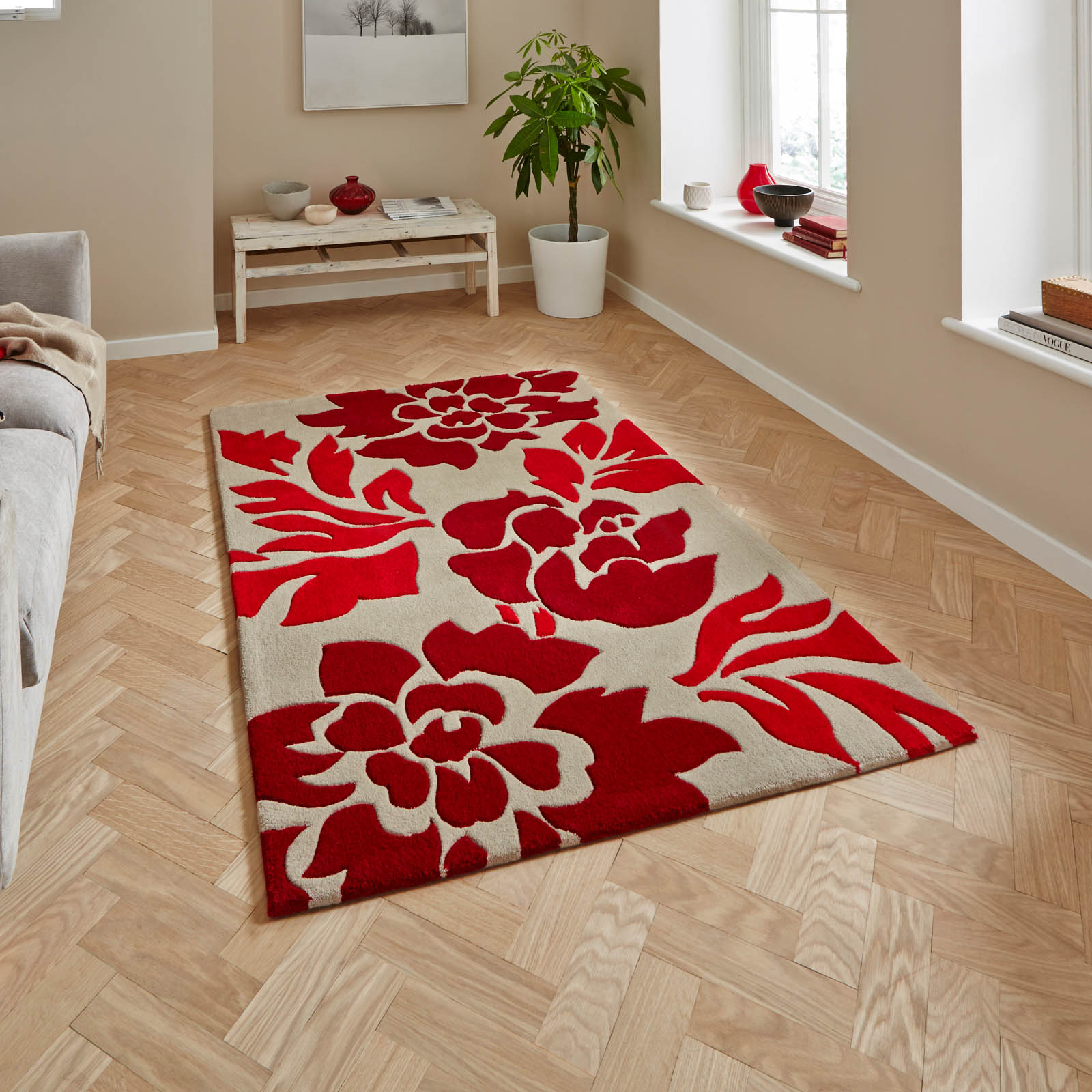 Hong Kong Rugs 33L Beige Red