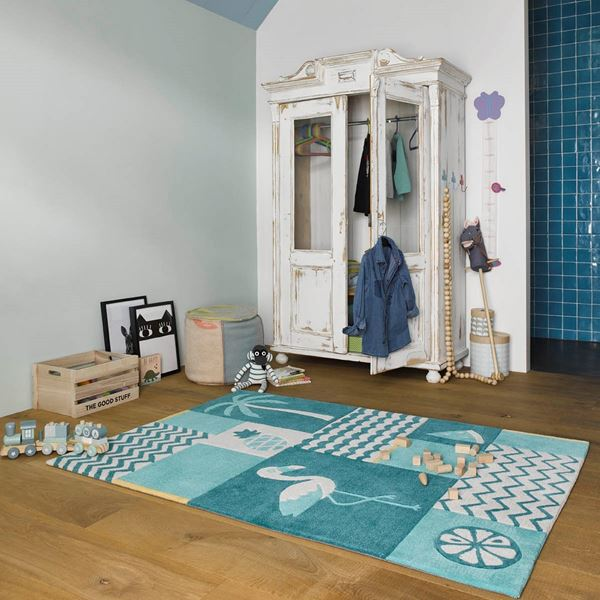 Fruity Flamingo Kids Rugs - Blue