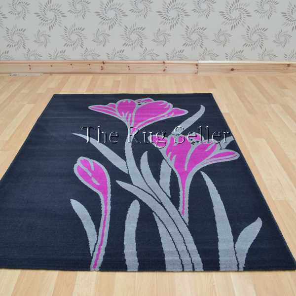 Capri Rugs 4349 5F28 in Dark Shadow and Royal Fuschia Pink