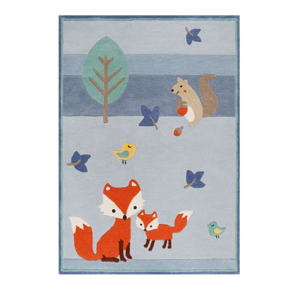 E-Fox In The Woods Kids Rugs - Blue