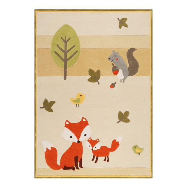 E-Fox In The Woods Kids Rugs - Beige