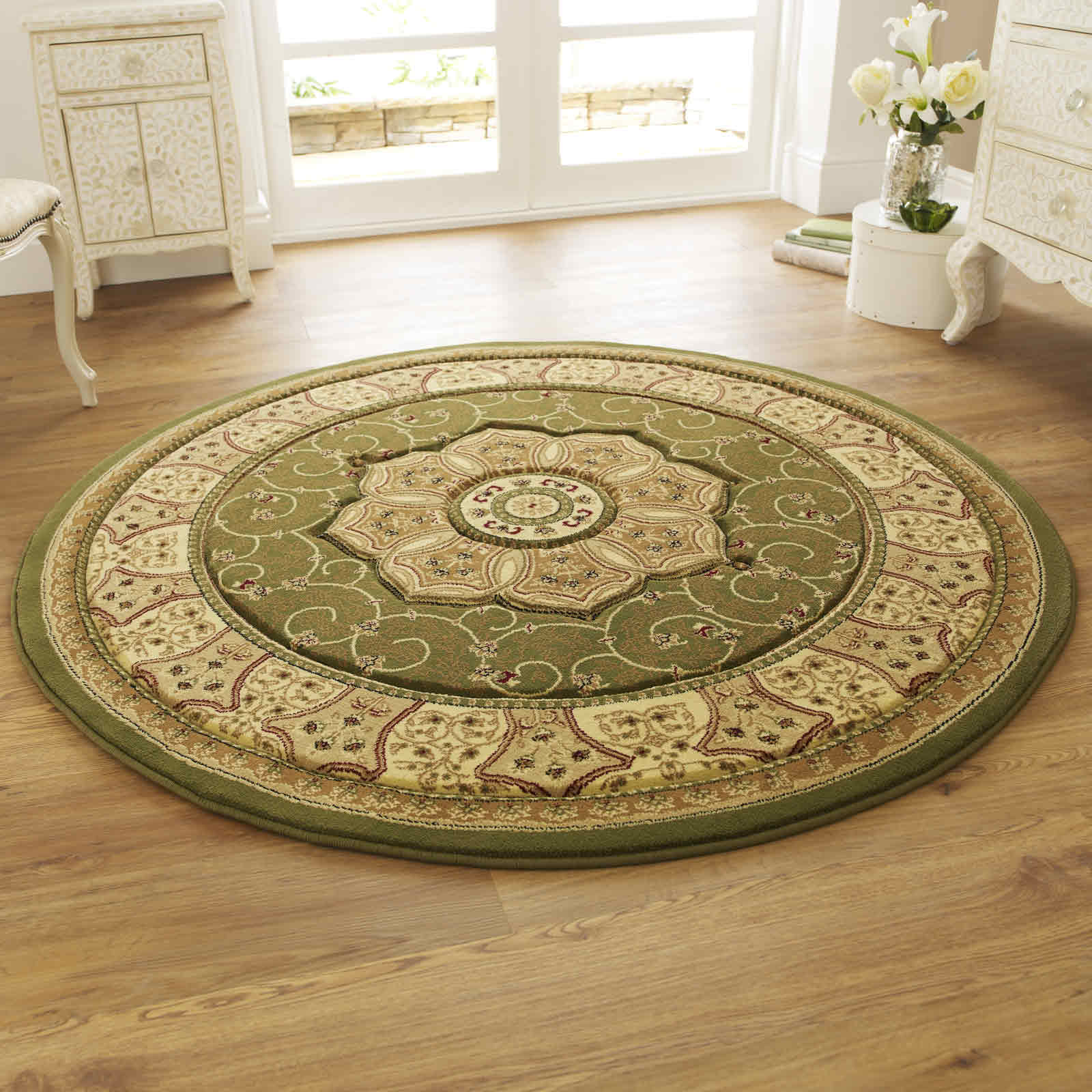 Heritage 4400 Circular Rugs In Green Free Uk Delivery