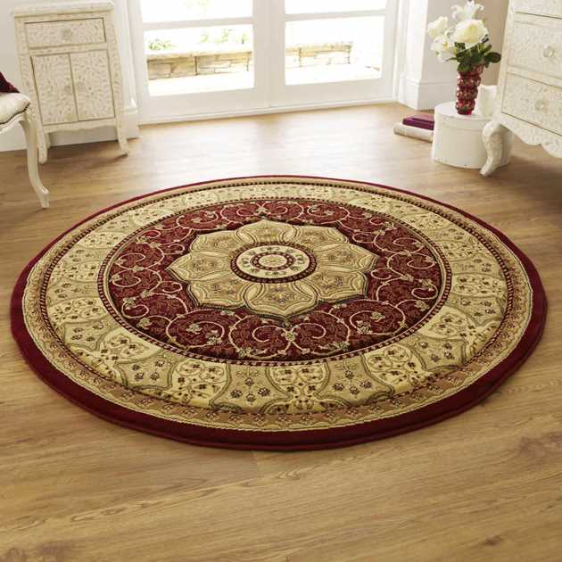 Heritage 4400 Circular Rugs In Red Free Uk Delivery