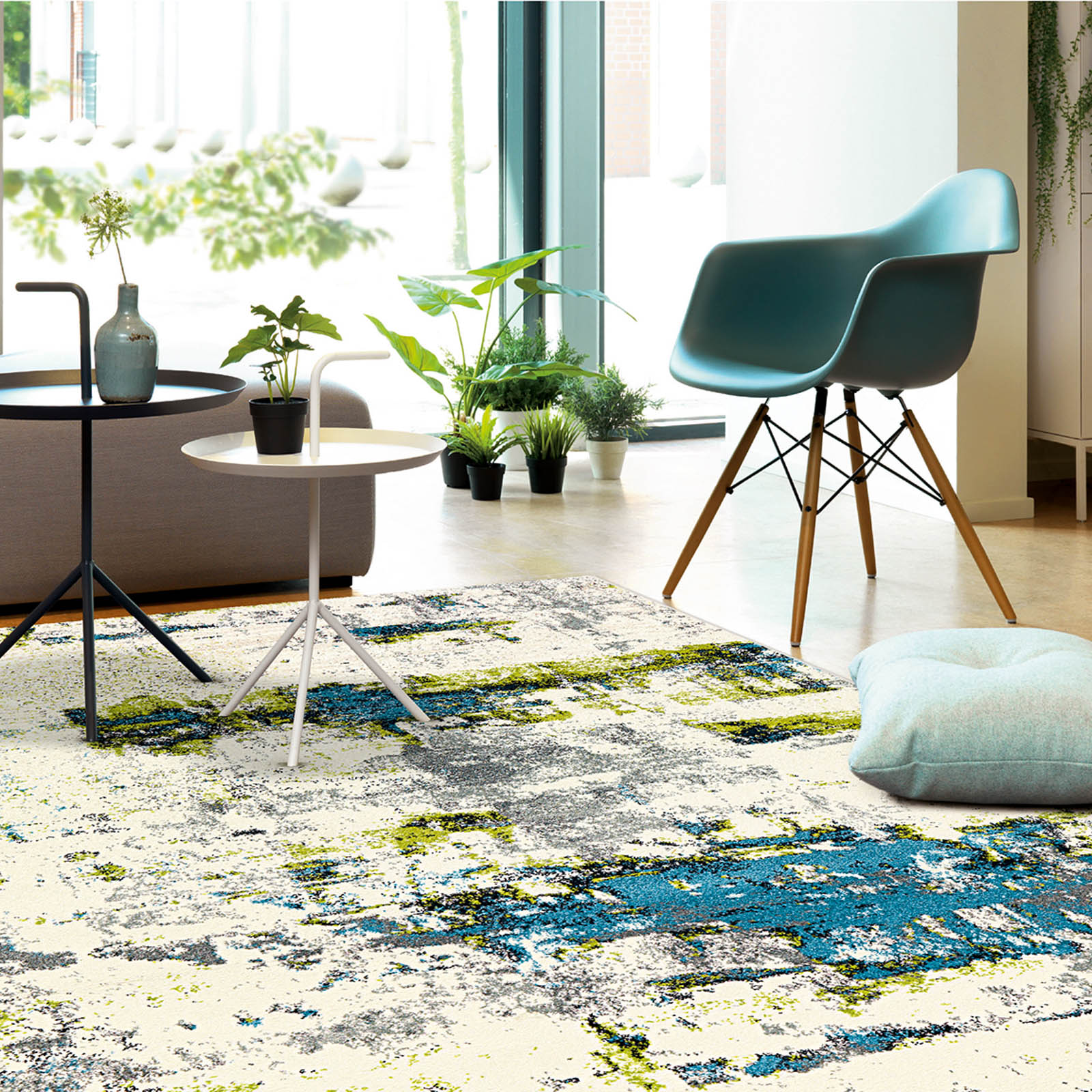 Artist Rugs 4440 64 in Ivory, Blue and Green
