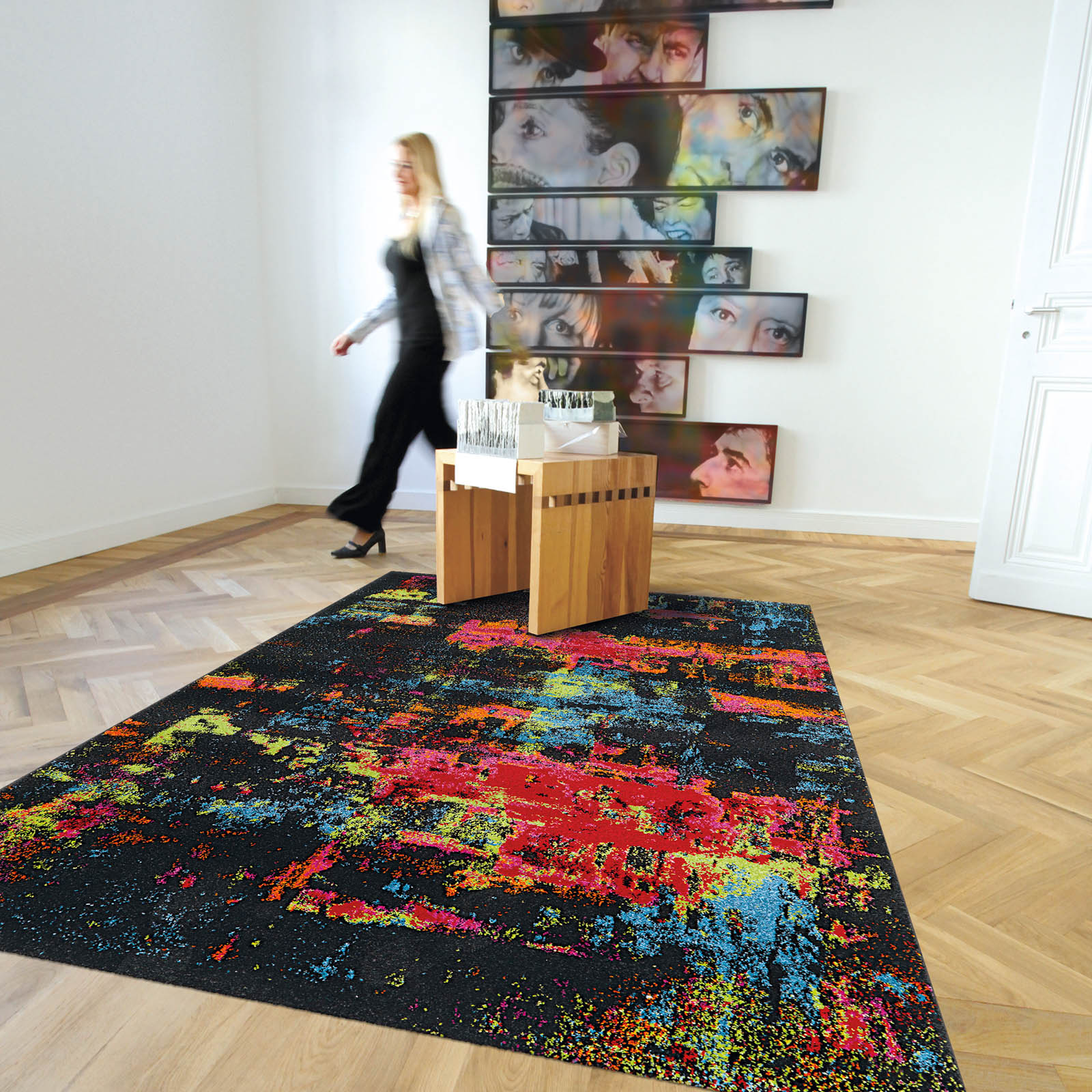 Artist Rugs 4440 70 Black and Multi-coloured