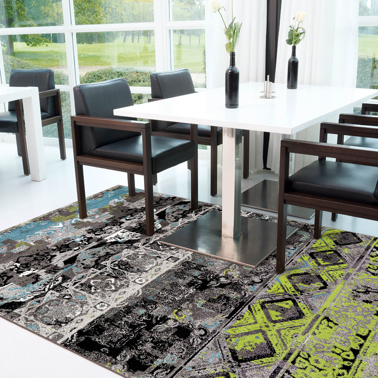 Folk Rugs 4454 61 in Grey, Green and Blue