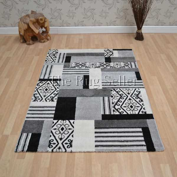 Sevilla Rugs 4726 6S44 Patchwork in Aspen Silver