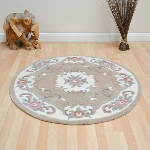 CHINESE CIRCLE RUGS - 510 AUBUSSON FULL CUT IN FAWN