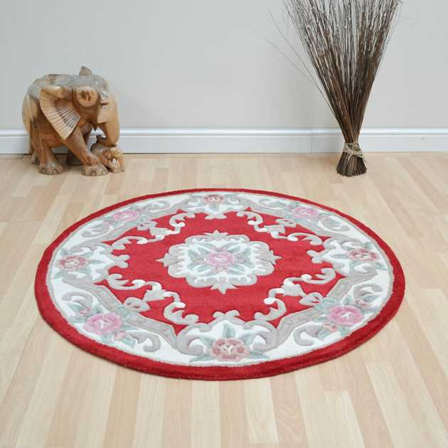 CHINESE CIRCLE RUGS - 510 AUBUSSON FULL CUT IN RED