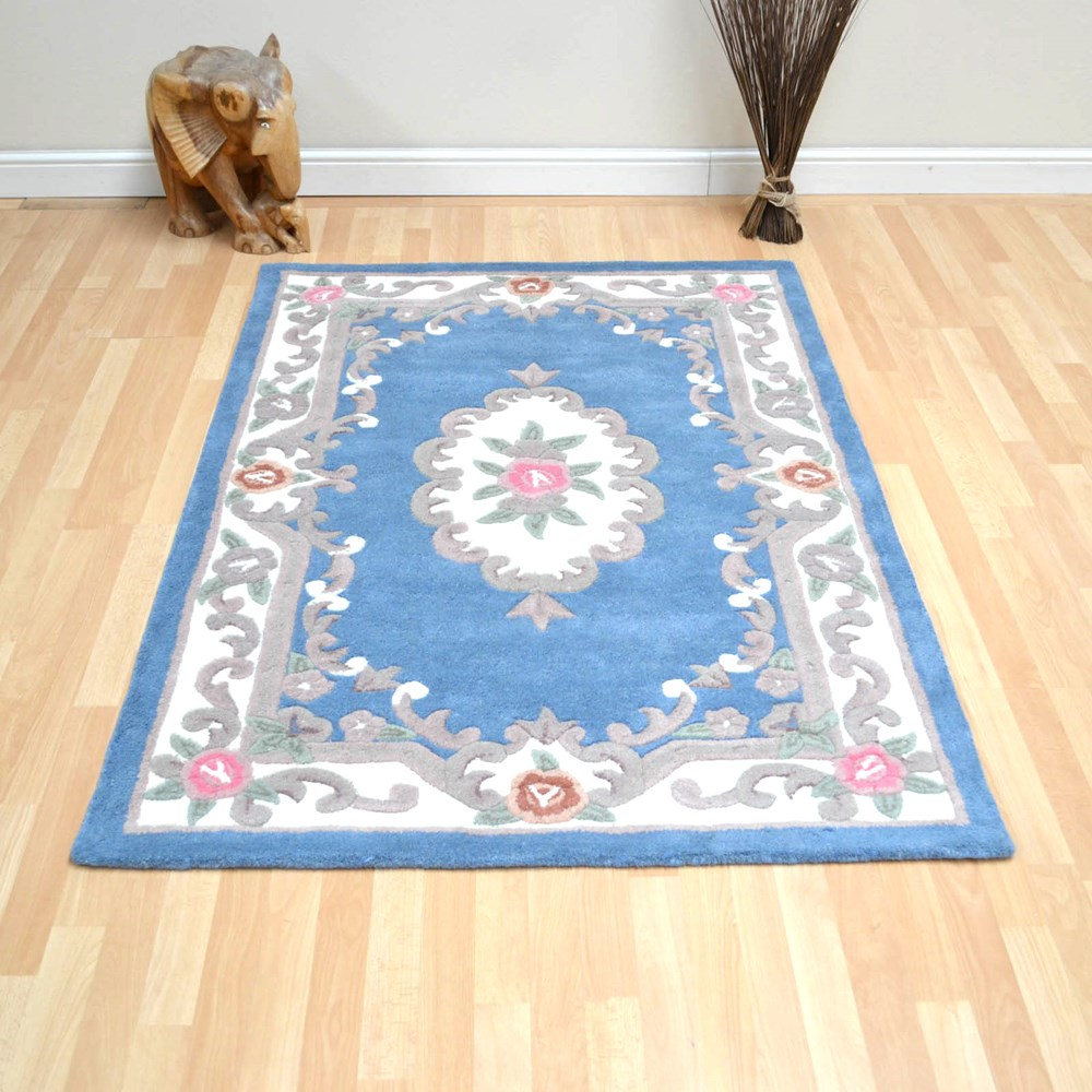 Large Aubusson Rug: 510 AUBUSSON FULL CUT IN BLUE Buy Online