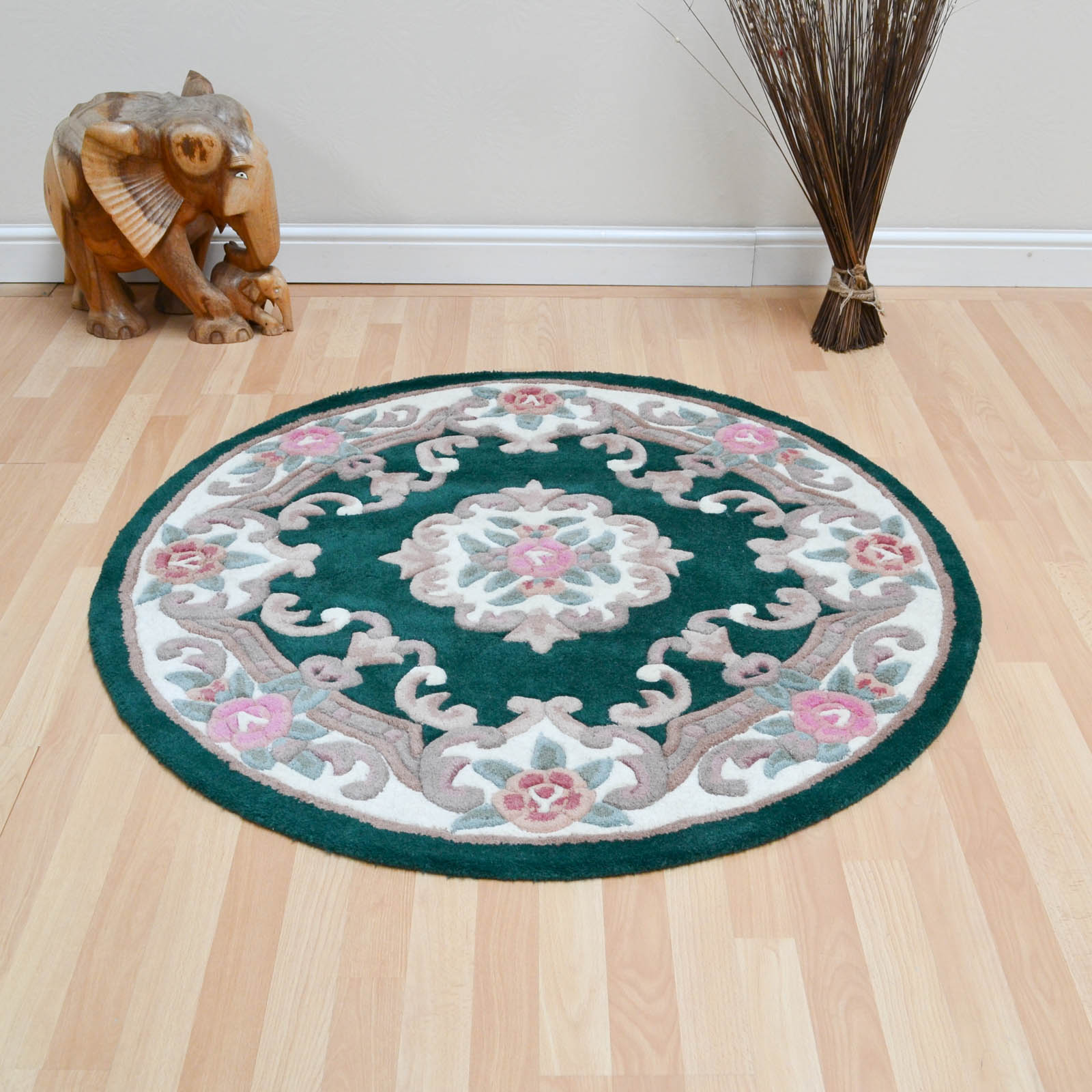 CHINESE CIRCLE RUGS - 510 AUBUSSON FULL CUT IN BOTTLE GREEN