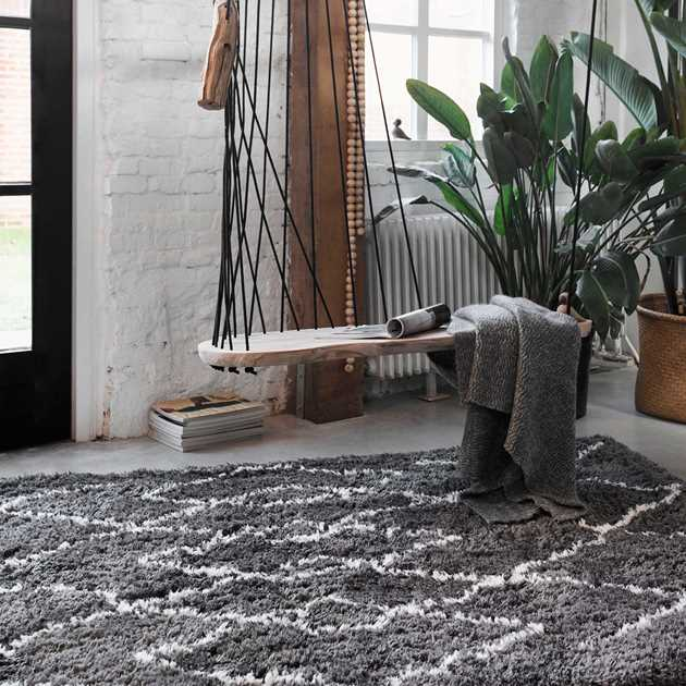 Boho and Scandic Afella Rugs 5965 095 in Anthracite White