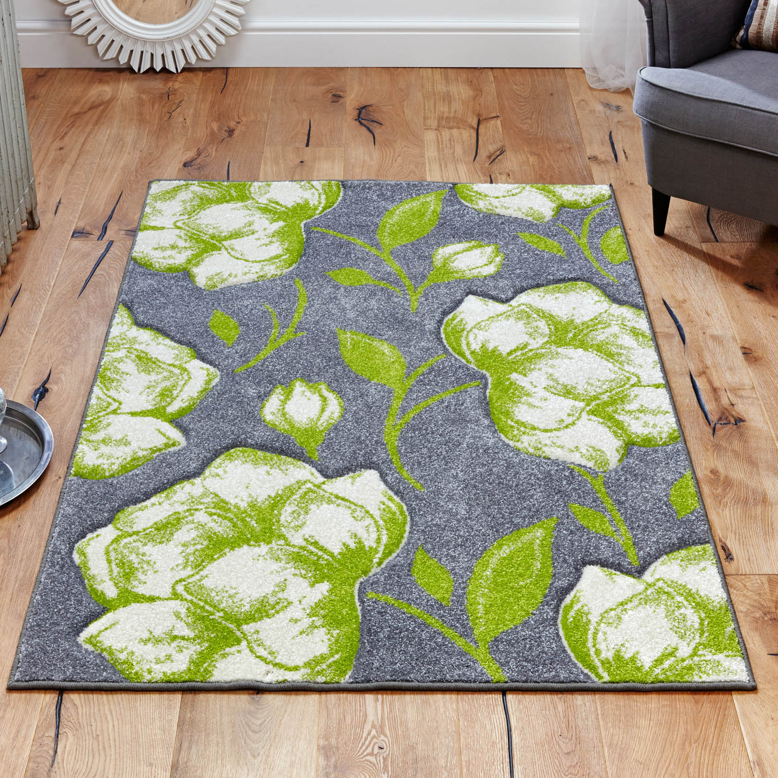Viva Rugs 5996 E in Grey and Green