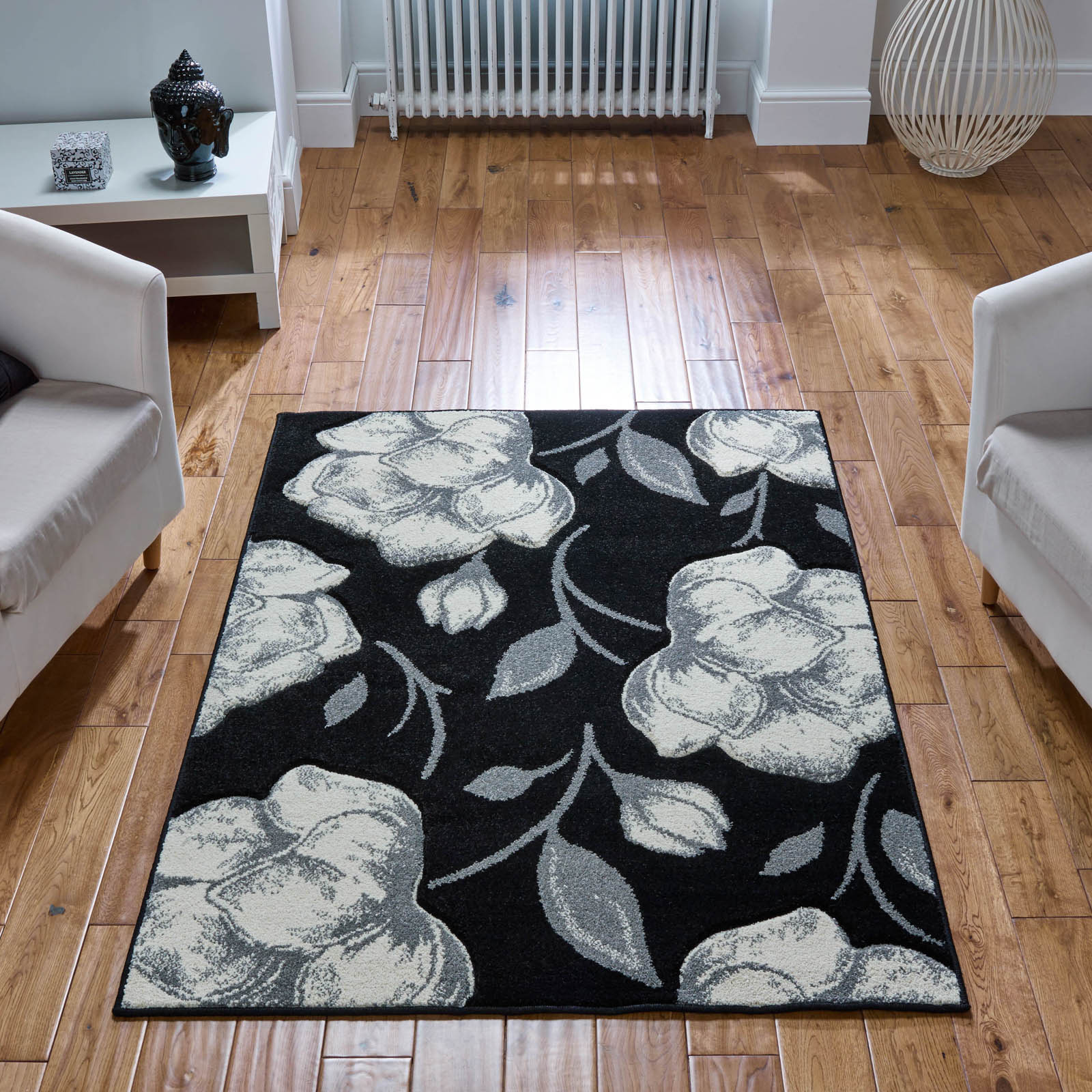 Viva Rugs 5996 X in Black and Ivvory