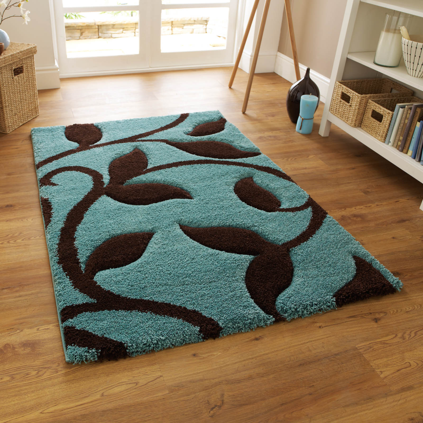 Fashion Carving 7647 Rugs in Blue Brown