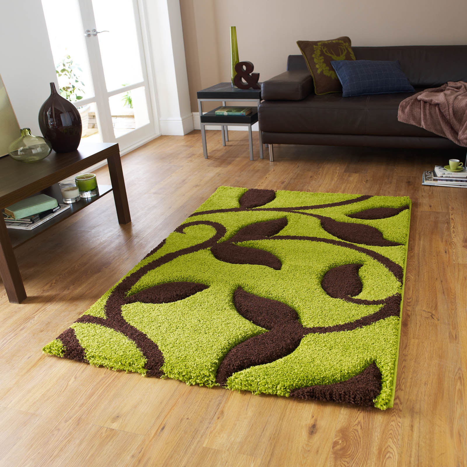 Fashion Carving 7647 Rugs in Green Brown