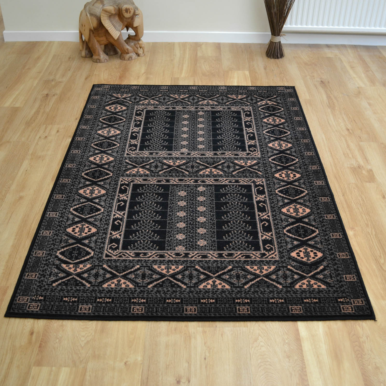 Afghan Rugs 7901 Traditional Wool in Black