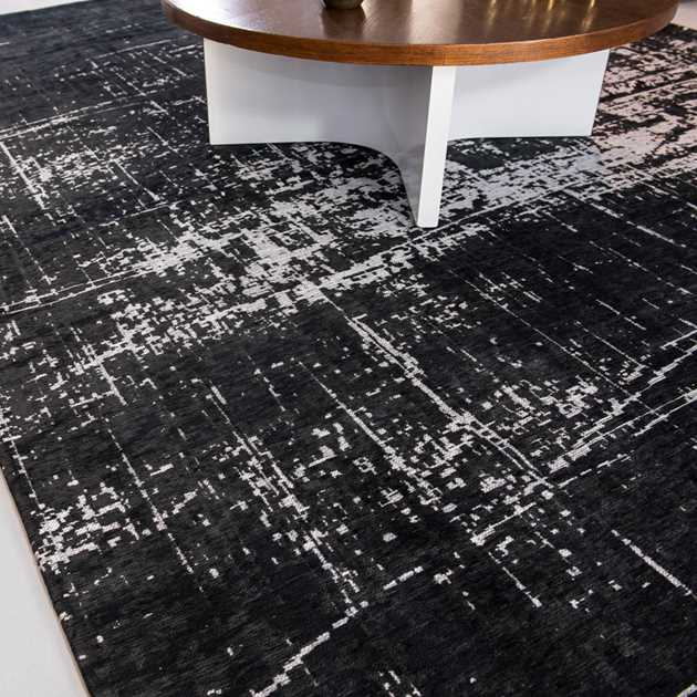 Mad Men Griff Rug 8655 in White on Black