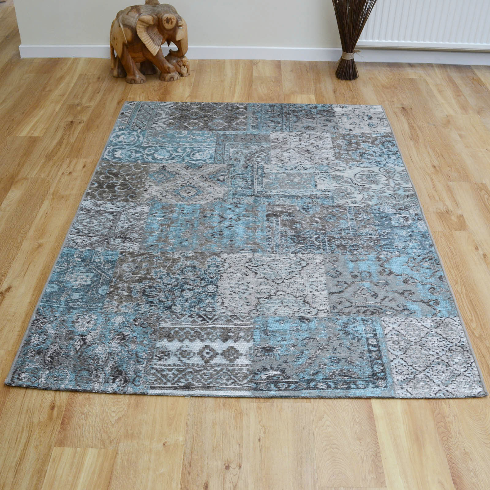 Capri Rugs 91290 5007 in Blue and Grey