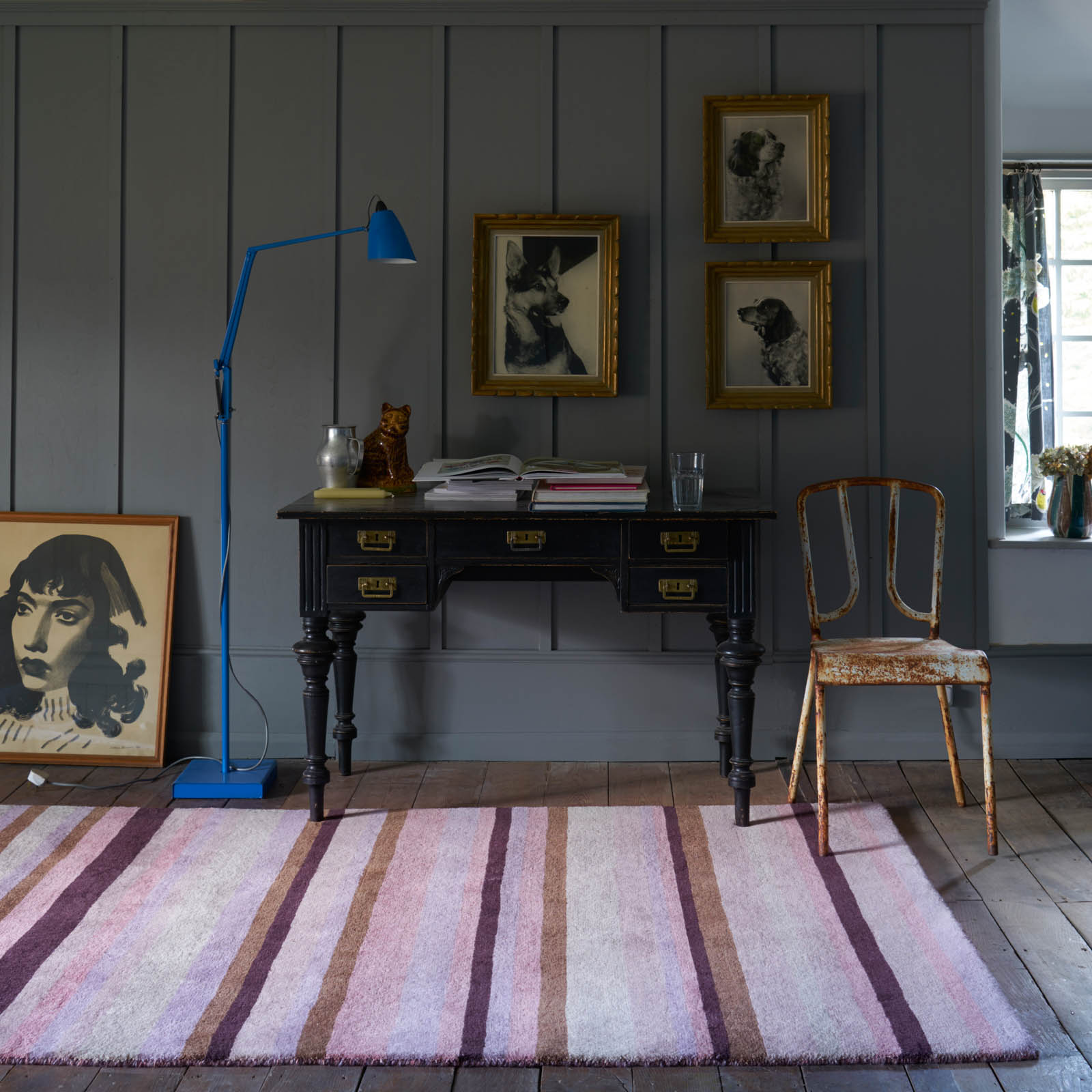 Ainslie Striped Rugs AIN01 in Pink
